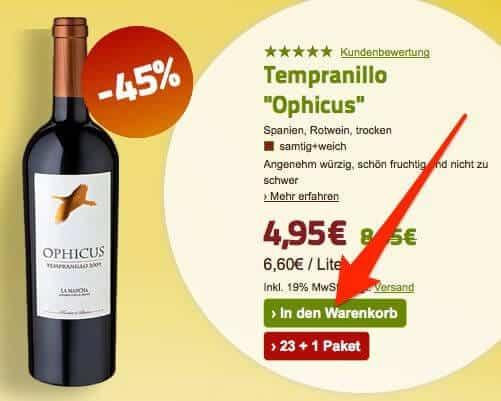 Weinbestellung: in den Warenkorb legen