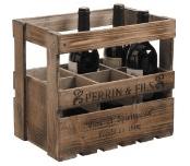 Abbildung einer Weinkiste aus Holz mit drei Weinflaschen