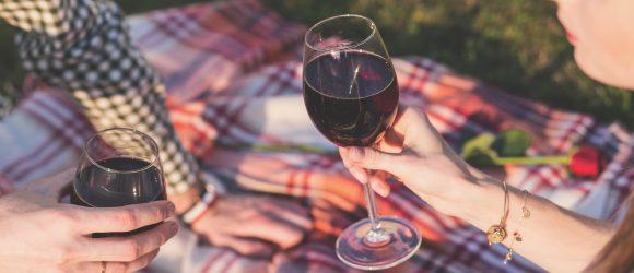 Weingläser für das Picknick