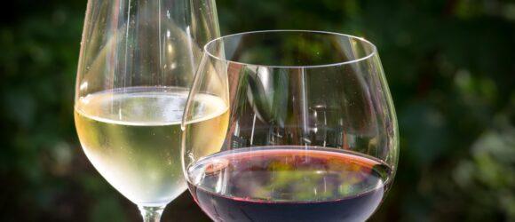 Zwei Weingläser mit Weißwein und Rotwein gefüllt